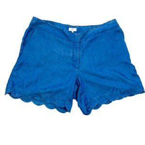 CROWN & IVY Curvy Scalloped Shorts